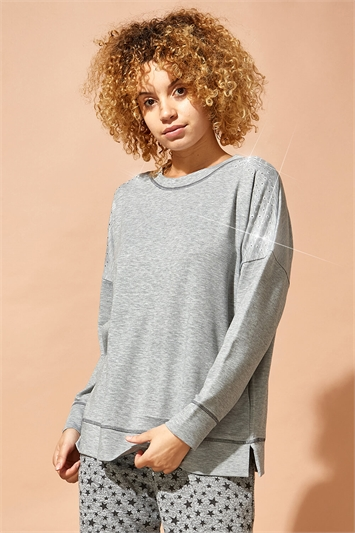 Embellished Long Sleeve Lounge Top