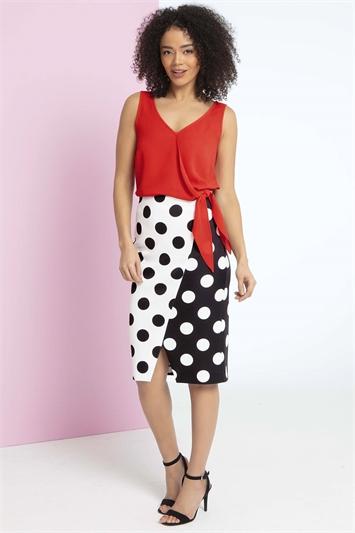 Monochrome Spot Scuba Skirt