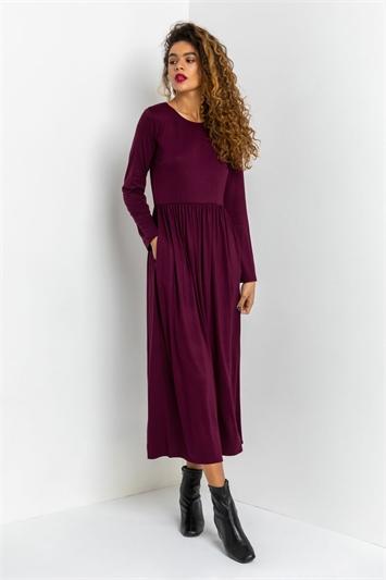 Aubergine Long Sleeve Jersey Maxi Dress, Image 1 of 4