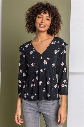 Black Floral Print V-Neck Top