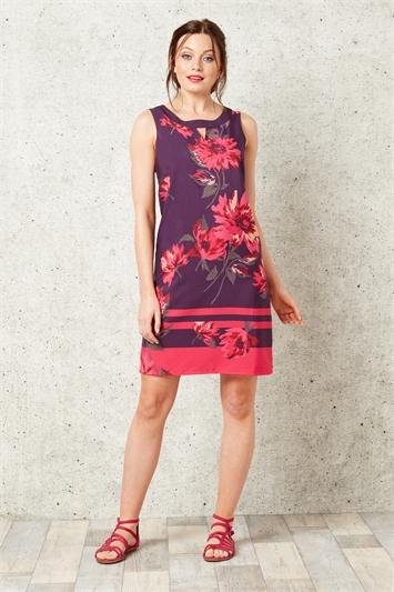 Floral Keyhole Shift Dress