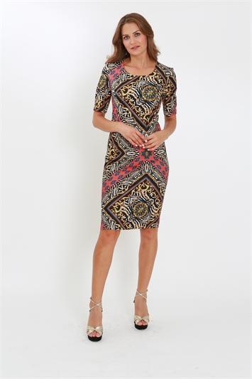 Multi-Colour Julianna Mixed Print Knee Length Shift Dress