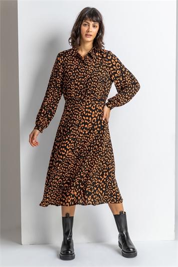 Rust Tiered Animal Print Midi Shirt Dress, Image 1 of 4