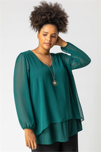 Forest Curve Chiffon Top With Necklace