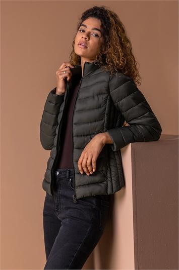 Khaki Lightweight Padded Coat, Image 1 of 5