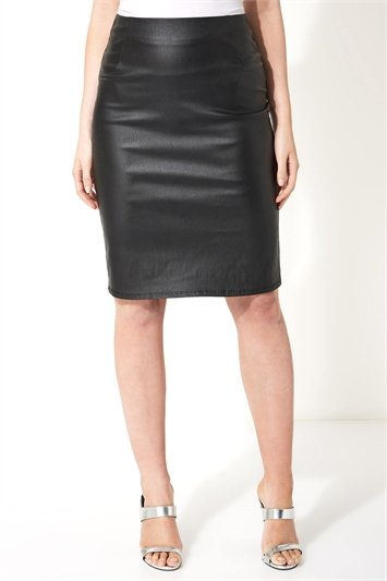 Faux Leather Pull On Pencil Skirt