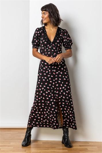 Red Lace Trim Floral Print Midi Dress