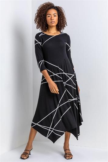 Black Linear Print Hanky Hem Dress, Image 1 of 4