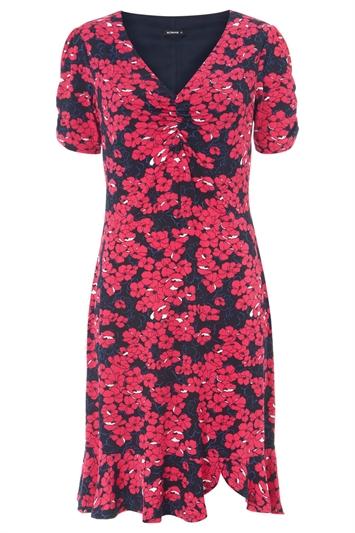 Floral Print Frill Hem Tea Dress