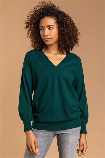 Dark Green V-Neck Long Sleeve Jumper