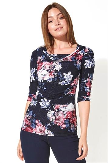 Floral Print Cowl Neck Top
