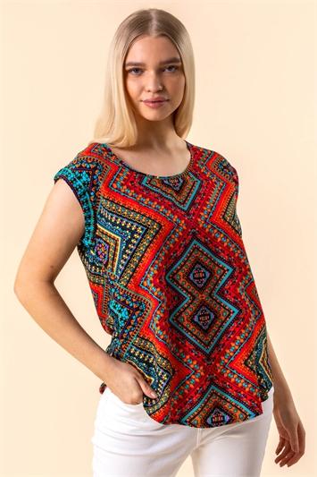 Aztec Print Short Sleeve Top