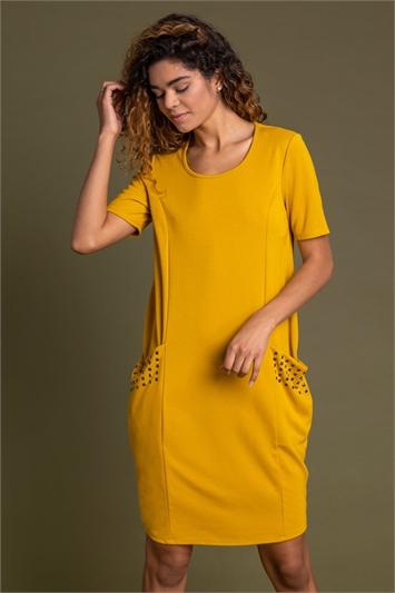 Amber Pocket Stud Detail Slouch Dress, Image 1 of 5
