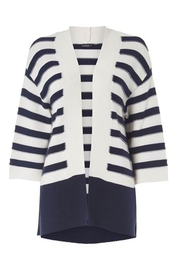 Stripe 3/4 Length Sleeve Cardigan
