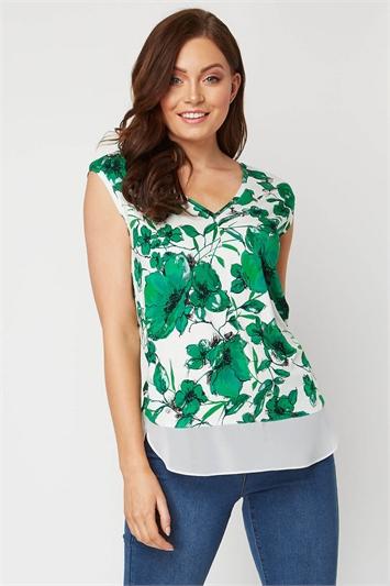 Floral Chiffon Hem Short Sleeve Top