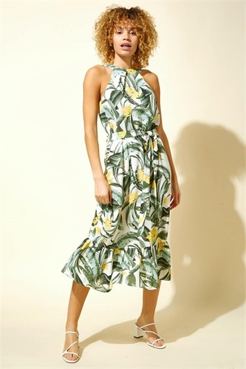 Tropical Print Halter Neck Dress