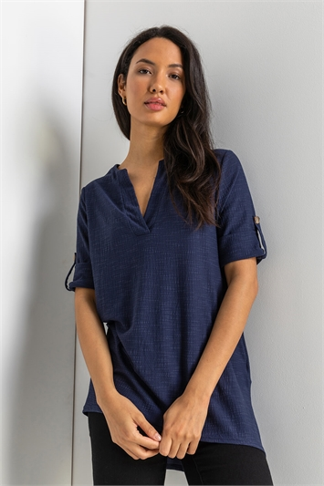 Navy Textured Notch Neck Top, Image 1 of 5