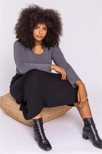 Black Curve Jersey Stretch Midi Skirt