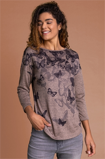Taupe Butterfly Print Jersey Top, Image 1 of 4