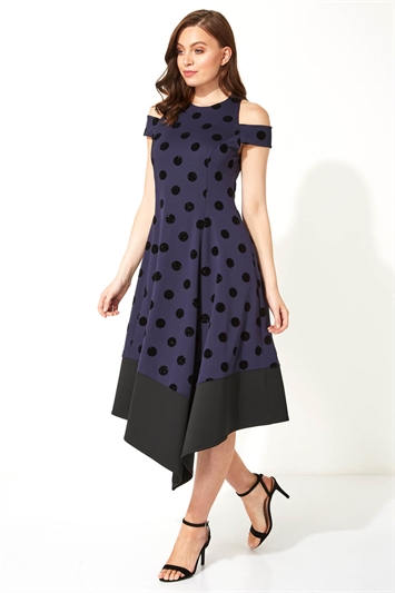 Spot Flocked Fit and Flare Dress