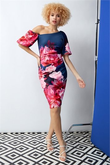 Puff Sleeve Floral Scuba Dress