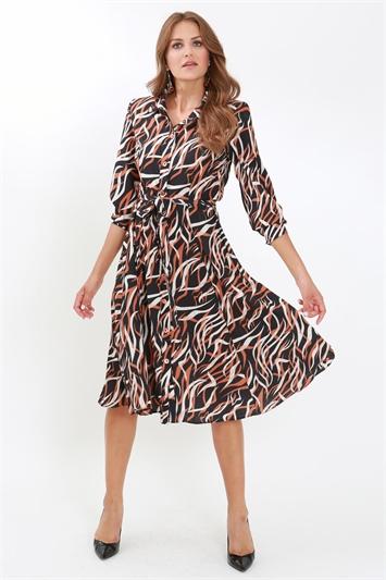 Juliana Button Through Fit & Flare Shirt Dress