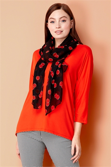 Loose T-Shirt and Cherry Print Scarf