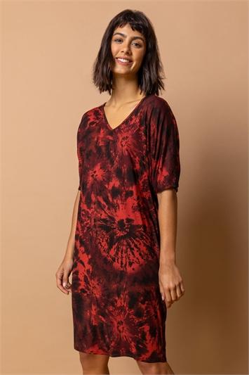 Brown Tie Dye Print Cocoon Dress, Image 1 of 4