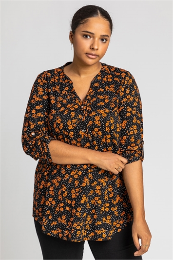 Rust Curve Ditsy Floral Print Top, Image 1 of 4