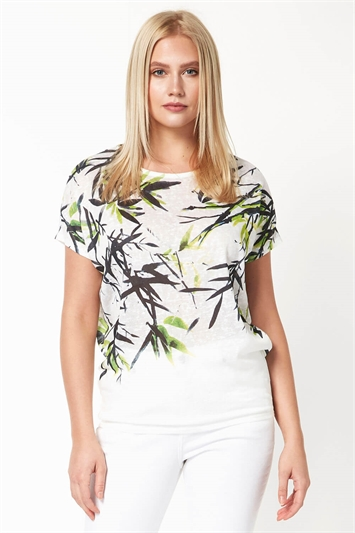 Tropical Leaf Print Jersey Top