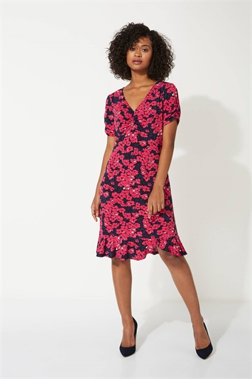 Floral Print Frill Hem Tea Dress