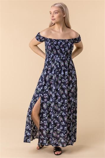 Shirred Ditsy Floral Print Bardot Dress