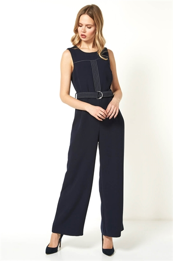 Top Stitch Belted Jumpsuit
