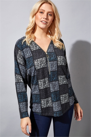 Abstract Square Print Zip Top