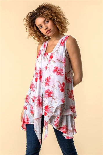 Floral Print Crinkle Tunic Top