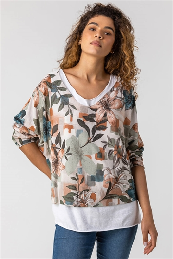 Neutral Floral Print Double Layer Top