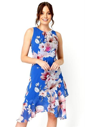 Floral Chiffon Hanky Hem Ruffle Midi Dress