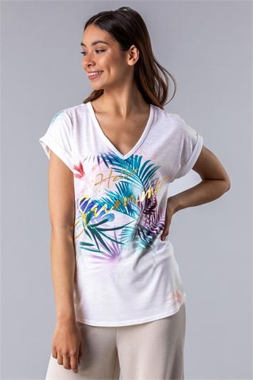 Tropical Foil Print T-Shirt