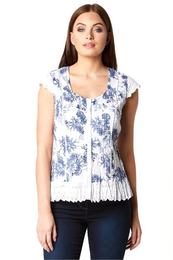 Floral Cap Sleeve Crinkle Blouse