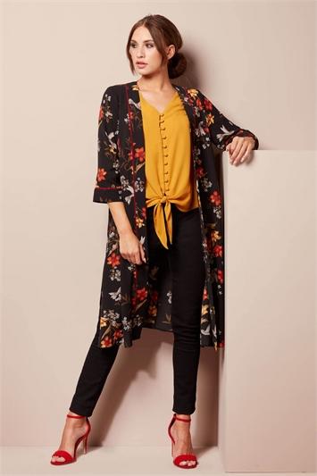 Floral Longline Jacket Kimono