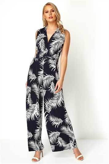 Leaf Print Crossover Detail Jumpsuit