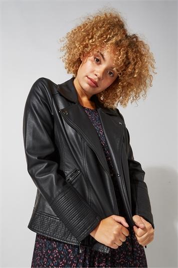 Faux Fur PU Leather Biker Jacket