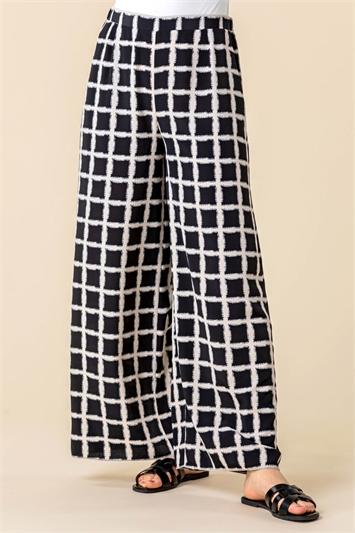 Check Print Wide Leg Trousers