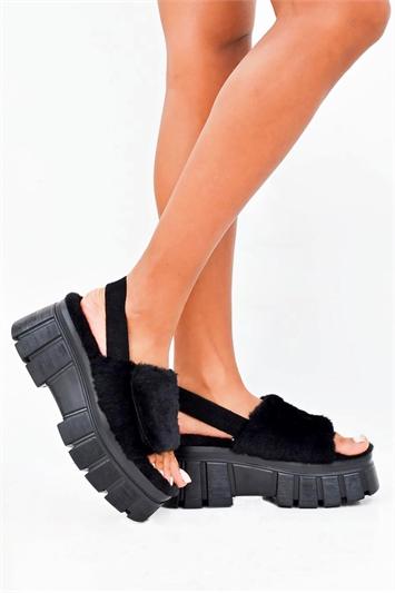Black Chunky Faux Fur Strap Platform Sandals
