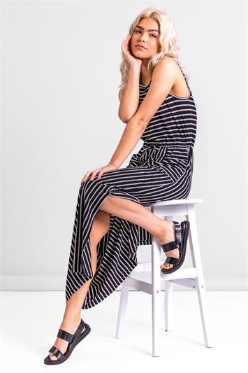 Striped Draw Cord Maxi Dress