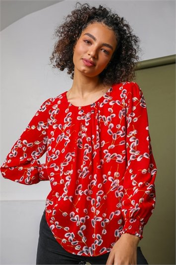 Red Floral Print Pleated Neck Top