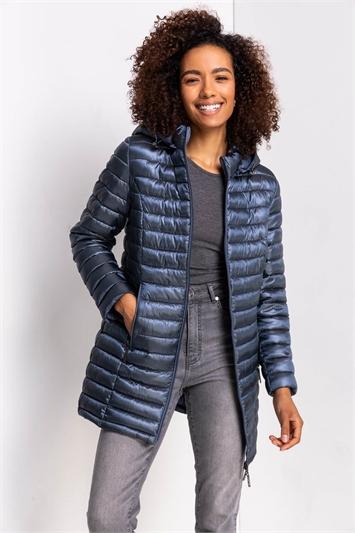 Steel Blue Longline Zip-Through Padded Coat