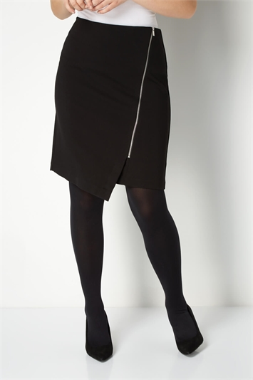 Black Zip Detail Skirt, Image 1 of 4
