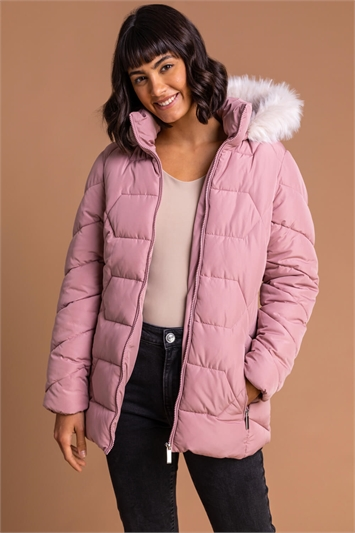 Light Pink Faux Fur Trim Hooded Coat, Image 1 of 5