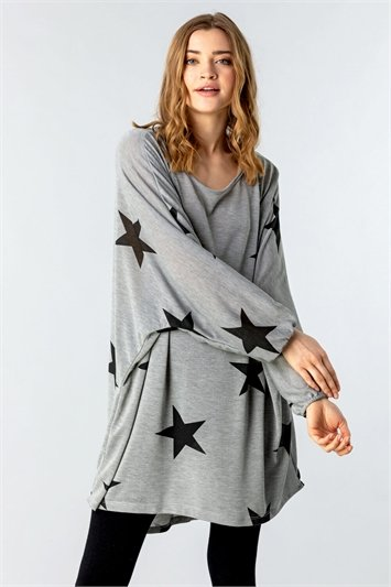 One Size All Over Star Print Lounge Top